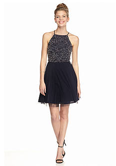 Xscape Cross-Back Beaded Cocktail Dress