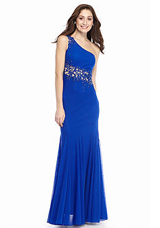 Xscape One Shoulder Bead Embellished Mesh Gown