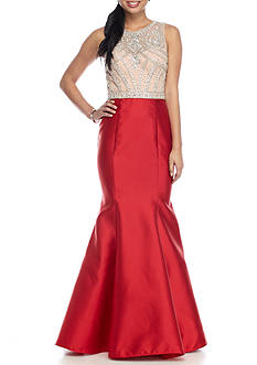 Xscape Bead and Mesh Bodice Mermaid Gown with Open Back