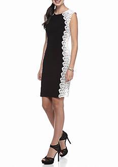 Xscape Side Panel Lace Sheath Dress