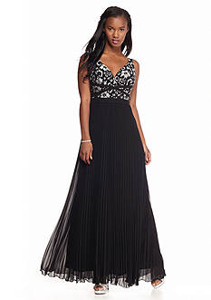 Xscape Lace Bodice with Pleated Skirt Gown