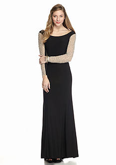 Xscape Off the Shoulder Beaded Gown