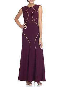 Xscape Illusion Mesh Inset Gown
