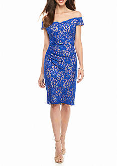Xscape Off the Shoulder Lace Cocktail Dress