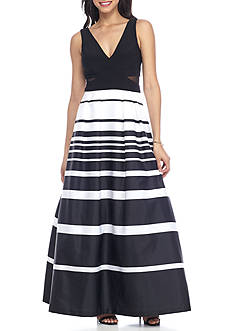 Xscape V-Neck Stripe Ballgown