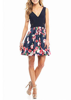 Xscape Floral Printed Fit and Flare Party Dress
