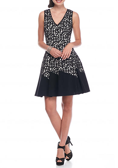 Xscape Laser Cut Fit and Flare Dress
