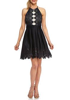 Xscape Laser Cut Halter Party Dress