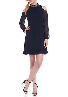 Xscape Cold Shoulder Chiffon Beaded Neck Dress