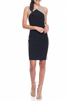 Xscape Bead and Mesh Panel Sheath Dress