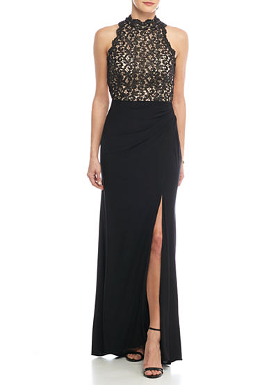 Xscape Metallic Lace Bodice Jersey Gown