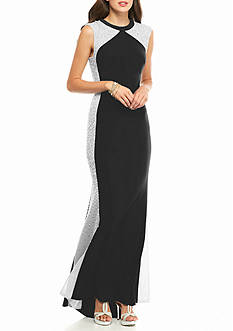 Xscape Bead and Mesh Panel Jersey Gown