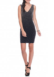Xscape Beaded Jersey Cocktail Dress