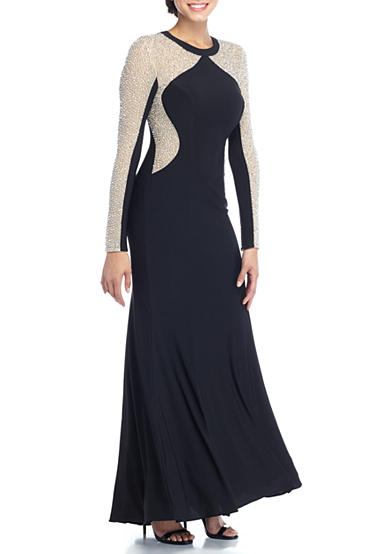 Xscape Beaded Mesh Inset Jersey Gown
