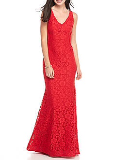Xscape V-Neck Lace Gown