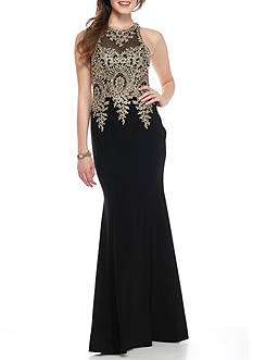 Xscape Bead Embellished Bodice Ponte Gown
