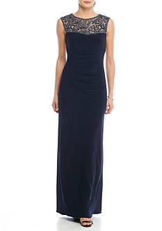 Xscape Bead Embellished Jersey Gown