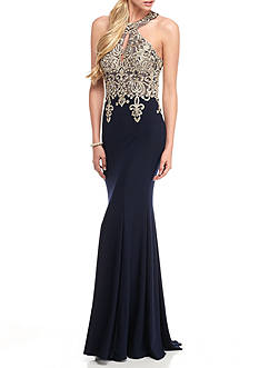 Xscape Embroidered Mesh Halter Gown