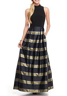 Xscape Brocade Stripe Skirt Ballgown
