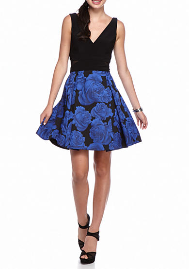 Xscape Floral Printed Fit and Flare Dress