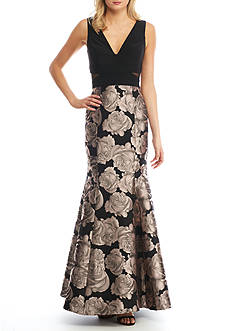 Xscape Floral Printed Brocade Gown