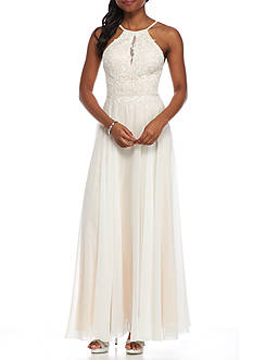 Xscape Beaded Bodice Chiffon Gown