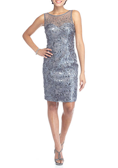 Xscape Sequin Sheath Dress with Shawl