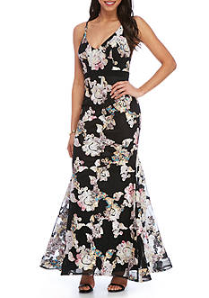 Xscape Embroidered Floral Gown