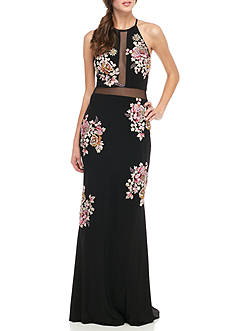 Xscape Embroidered Sheer Waist Gown