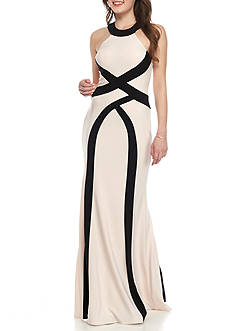 Xscape Color Block Long Halter Gown