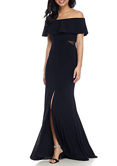 Xscape Ruffle Off the Shoulder Gown