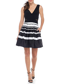 Xscape Striped Fit and Flare Cocktail Dress