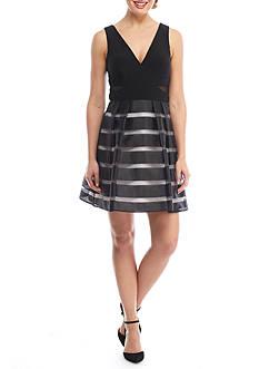 Xscape V-Neck Shadow Stripe Cocktail Dress