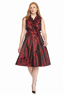 J Howard Plus Size Ruffle Surplice Dress