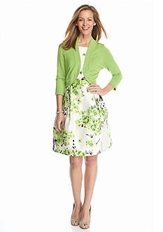 J Howard Floral Fit and Flare Dress with Sweater