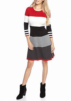 J Howard Striped Fit and Flare Sweater Dress