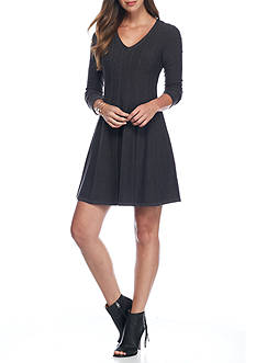J Howard Ribbed Fit and Flare Sweater Dress