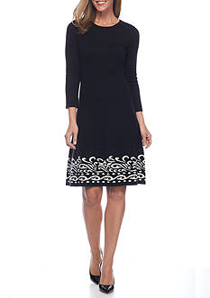 J Howard Scroll Printed Hem Border Sweater Dress