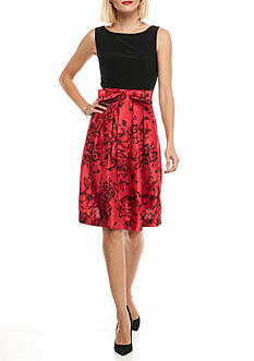 J Howard Shantung Fit and Flare Dress