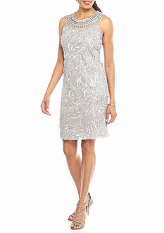 J Howard Embroidered Mesh Sheath Dress