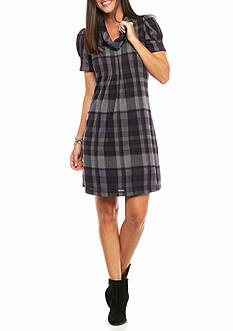 J Howard Cowl-Neck Plaid Shift Dress