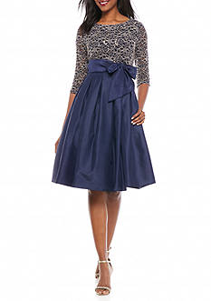 Jessica Howard Mixed Media Fit and Flare Dress