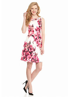 Jessica Howard Printed Scuba Fit and Flare Dress
