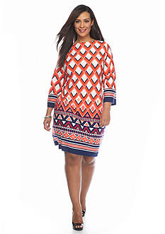 Laura Jeffries Plus Size GEO Printed Shift Dress