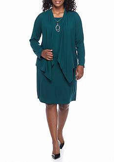 J Howard Plus Size Mock Two-Piece Rib Knit Jacket Dress