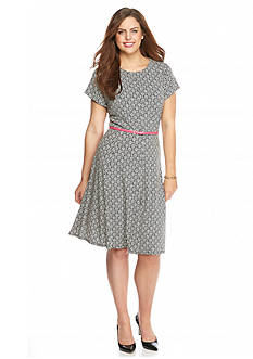 Laura Jeffries Plus Size Printed Fit-and-Flare Dress