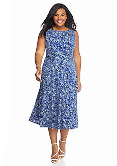 Laura Jeffries Plus Size Printed Jersey Dress