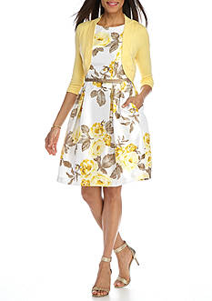J Howard Floral Printed Fit and Flare Dress with Sweater