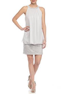 J Howard Beaded Lace Sheer Overlay Dress