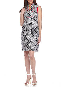 J Howard Printed Sheath Dress with Piping Trim
